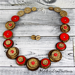 Ruby Red Flower Coconut Brown Buttons Necklace Button Jewellery - Earrings