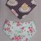Dribble bib/ bandana bib: select from cupcakes or blossom birds