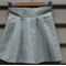 Size 1-2yrs girls cotton pleat skirt tiny floral purple aqua on white cotton.