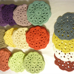 Hand made crochet cotton coasters. Set of 4.