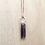 PURPLE (TRANSPARENT) COLOUR BASICS SIMPLE SILVER CIRCLES TASSEL PENDANT NECKLACE