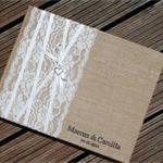 Handmade Personalised Rustic Country Burlap & Lace Guest Book (A4)
