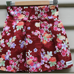 Size 2-3yrs girls pleat skirt Japanese floral design on deep red quilting cotton