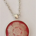 Pink  and white Doily pendant