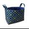 Fabric Storage Organiser Bin Basket -  Navy Diamonds