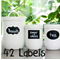 42 Assorted shaped  Chalkboard Label Stickers - With a FREE liquid Chalk marker