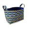 Fabric Storage Organiser Bin Basket -  Teal and Navy Feathers