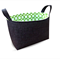 Fabric Storage Organiser Bin Basket - Charcoal with Lime Green Dot Lining