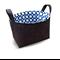 Fabric Storage Organiser Bin Basket - Charcoal with Royal Blue Dot Lining
