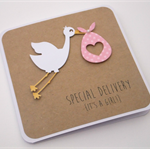 Handmade Baby Card - Special Delivery - Kraft