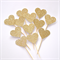 12 Love Heart Cupcake Toppers - Gold Glitter