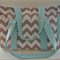 Chevron and Aqua Dots Nappy Bag with Long Removable Adjustable strap