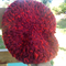 crocheted pure wool beret, maroon and red