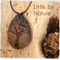 Winter tree wooden pyrography necklace