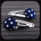 White Polka Dots on Navy: Small Silver Snap Clips