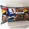 Upcycled Denim Pillow cover with vintage style travel fabric 30cm x 50cm