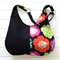 Hobo Bag Purse in colourful Floral Echino and Black Fabric for Ladies