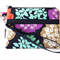 Wristlet Pouch Purse in Colourful Floral Echino Fabric Design Handmade