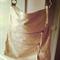 Soft genuine sheepskin leather messenger bag, 5 zips and adjustable strap
