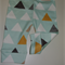 Pre Order Aqua and Gold Triangles Organic Cotton Jersey Baby Leggings, Baby Pant