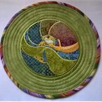 SET OF 6 APPLIQUED ROUND TABLE MATS
