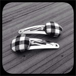 Black and White Gingham: Small Snap Clip