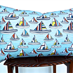 The Boats Cushion Cover in Blue, Saffron, White , Black and Yellow