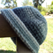 crocheted hat with brim made from pure wool yarn