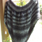 Knitted poncho made from acrylic yarn with sequins.  Black and Grey