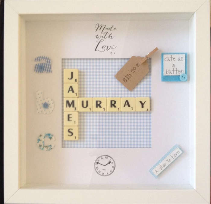 SCRABBLE ART FRAME TO CELEBRATE BIRTH OR CHRISTENING FOR THE WALL ...