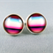 Stud Earrings - Black Cherry Stripe Glass Cabochon