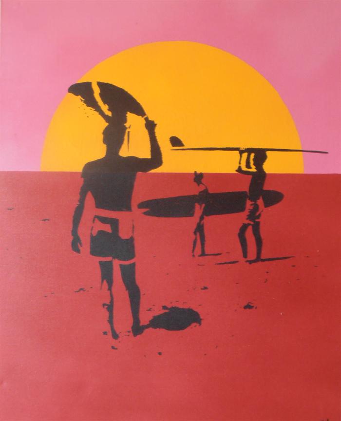 Endless Summer Surf Movie Stencil Art Spray Painted On Canvas Not A Print Just Sprayed On Madeit