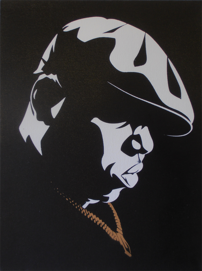 notorious big biggie stencil art spray painted on canvas not a print