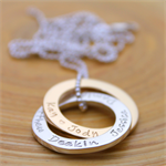 Personalised Necklace - Mrs Fickle's Linked Loops Two Tone - Solid gold + silver