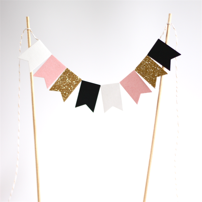 Bunting Cake Topper Pink White Black And Gold Glitter Banner