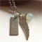 'Gaspra' Angel wing, Name Tag and Moonstone bead pendant.