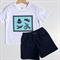 Size 2 Boys Vintage Toys T-shirt Tees & Shorts Silhouette, White 100% Cotton