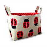 LIMITED EDITION - Fabric Storage Organiser Bin Basket -   Lady Bug on Natural