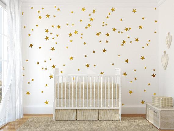 gold vinyl wall decal sticker wall art stars - gold star decal
