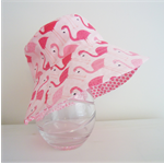 Girls summer hats in cute flamingo fabric