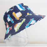 Boys summer hat in funky car fabric