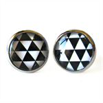 Triangles - Stud Back Glass Cabochon Earrings