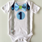 1st Birthday Onesie Boys Bow Tie and Suspenders  Blues and Grey