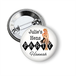 10 Hens party badges - add your text. 'Pin Up 2'