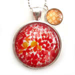 PENDANT NECKLACE WITH CHARM- Red watercolour design