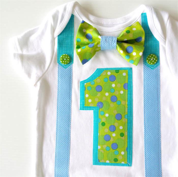 1st Birthday Onesie Boys Bow Tie And Suspenders Greens And Blues