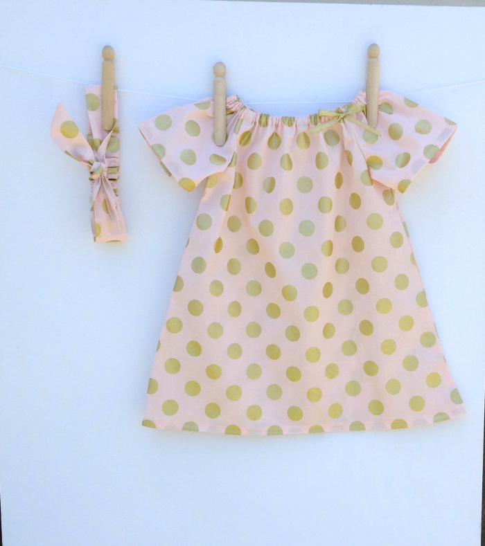 856b73fc5 Pink with Gold Spots Baby Girl Peasant Dress with matching knotted ...