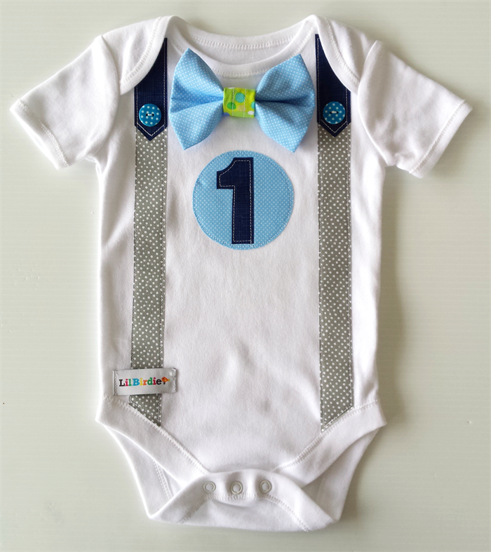 1st Birthday Onesie Boys Bow Tie And Suspenders Blues And Grey Li