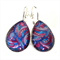 TEARDROP LEVER BACK EARRINGS- Swirls of purple and blue