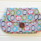 Clutch Purse Pouch Make up Case in Retro Fabric with Clocks